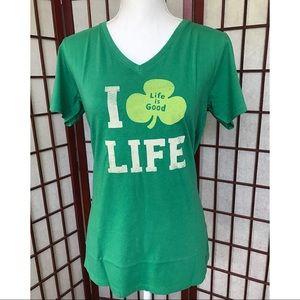 Life is Good Green Lucky Irish Shirt Top M